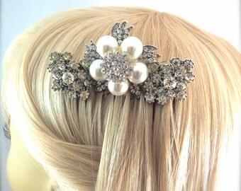 Vintage Rhinestone Brooch Pearl Bridal Hair Comb - Vintage Sparkle - Something Old