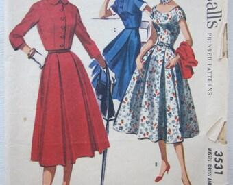 Vintage McCalls 1950s 2 pc Pattern 3531 Women's Dress, Bolero Set sz 16 B 34
