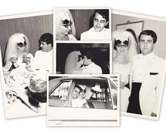 Cool Cat's Wedding- 1960s Vintage Photographs- SET of 5- Groovy Bride and Groom- 60s Fashion- Cat Eye Glasses- Found Photos- Paper Ephemera