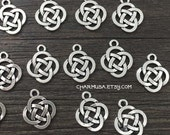 Antiqued Silver Tone Knot Symbol Charm Pendant  destash collection  18x16mm Irish Eternal Symbolic SALE USA