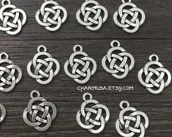 10 Pieces Antiqued Silver Tone Knot Symbol Charm Pendant  destash collection  18x16mm Irish Eternal Symbolic