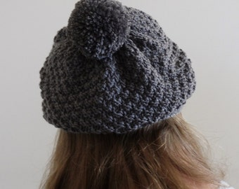 GREY SLOUCHY BEANIE || Knit Beret || Merino Wool || Hat With Pom Pom || Hand Knitted
