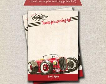 Race Car Thank You Card   Vintage Retro Race Car Thank You Card   Race Car Birthday Party Printables   digital printable