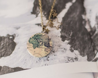 World Map Necklace  Gifts for Women  Send off Gifts  Travel