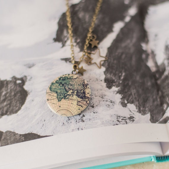 15 perfect gifts for travel lovers travel essentials and fun vintage map necklace etsy worldwide 18 2375 gumiabroncs Image collections