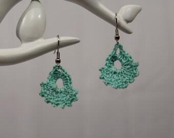 Mint crochet chandelier earrings