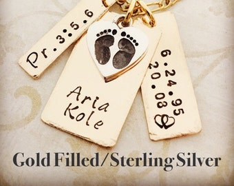 I Love My Baby Sterling Silver or Gold Filled necklace. Hand-forged and personalized. Baby Feet Heart, Name, weight, etc...