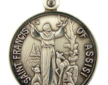 St. Francis of Assisi Sterling Silver Religious Medal on 18 inch sterling silver rolo chain