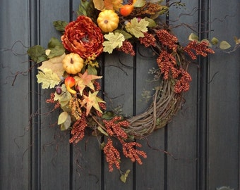 Fall Wreath Thanksgiving Wreath Halloween Orange Berry Branches Wispy Twig Grapevine Door Wreath Decor Indoor Outdoor Decoration