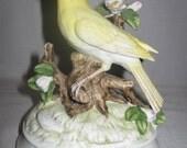 Gorham Bisque Porcelain Yellow Bird On Branches Up Raise Flowers Pink & White