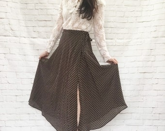 Vintage 90s Sheer Polka Dot Wrap Skirt XS S Brown White Midi Ankle Length
