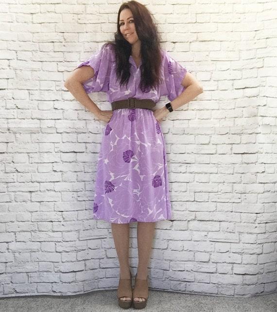 Vintage 80s Kimono Sleeve Floral Midi Dress Lavender Purple M