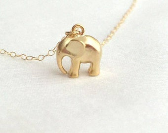 Gold Elephant Necklace. Baby Elephant Necklace. Animal Necklace. Layered.Delicate.Dainty.Simple Necklace.Everyday.Minimalist.Minimal.Modern.