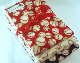 Baby Boy Burp Cloth Set - Baseball - Red, White, Blue