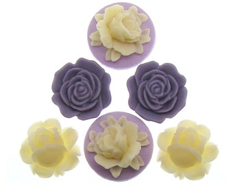 Flower Cabochons : 6 pieces (3 pairs) Purple, Lilac & Ivory Resin Flower Cabochons -- Perfect for earrings, bobby pins, or rings 3000.F4