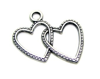 Silver Charms : 10 Antique Silver Double Heart Charms | Silver Interlocking Hearts Pendants ... 23x23mm -- Lead & Cadmium Free  A1