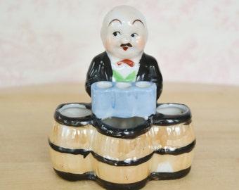 Vintage Bartender Figurine Toothpick Holder or Planter