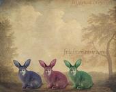 Weird Easter Art, Surreal Art, Colorful Art, Rabbit Art, Mixed Media Art, Animal Hybrid, Collage Print, Anthropomorphic, Creepy Bunny Art