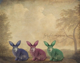 Weird Easter Art, Surreal Art, Colorful Art, Rabbit Art, Mixed Media Art, Animal Hybrid, Collage Print, Anthropomorphic, Creepy Bunny Art