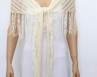 Off-white Ivory SHAWL - Cream Wraps Shawl-  knitted shawl, Off White Wraps Shawl,  Fringe Scarf, Evening shawl, Womens Clothing Accessories