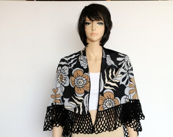 Black Gray Beige floral Shawl combining crochet and fabric Gypsy shawl,  Russian Style Shawl,