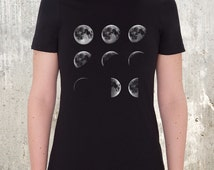 Women's Organic Cotton T-Shirt - Moon Phases - American Apparel Women's Relaxed Fit Tee
