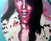 Aaliyah Hand-Cut Stencil Painting by Jessica Pope - Pinks & Purples Mixed 5 Layer Art Work on Gallery Wrapped Round Canvas