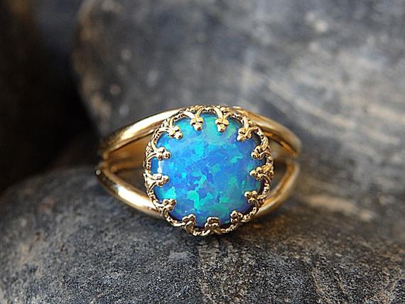 Opal Gold Ring Gemstone ring Blue Opal Ring October