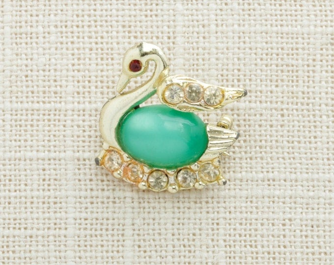 Gold Green Swan Brooch Vintage Rhinestone Cabachon Broach Costume Jewelry   Vtg Pin 16B