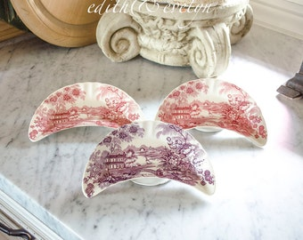 Vintage English Transferware Crescent Shaped Bone Dishes, Red and Purple, Tonquin