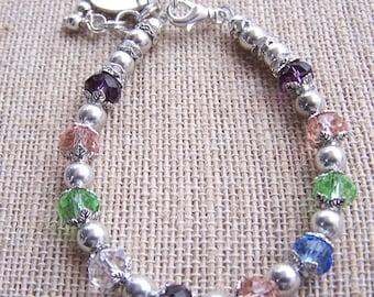 Mothers silver plated Birthstone Bracelet, Mothers charm bracelet (B104)