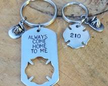 Personalized Firefighter Keychains With Dog Tag and Maltese Crosses