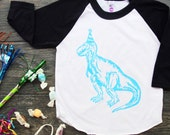 Let's Party - Dinosaur Birthday Hat Screen Print Baseball Tee - Black with Blue