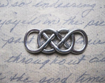10 Double Infinity Connector Charms in Silver Tone - C2427