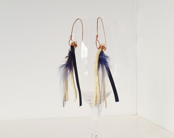 "Leather and Blue Feathers Tassel Earrings, ""Ilkay"""