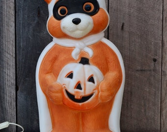 Vintage Empire Masked Teddy Bear Halloween Blow Mold Light Up Working Cord Indoor Outdoor Yard Decoration Orange Black White