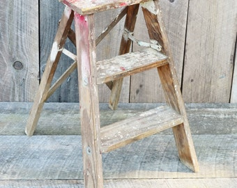 Vintage Wooden Step Ladder Red Paint Chippy Shabby Rustic Primitive Decor Shelf Stool Weathered Patina
