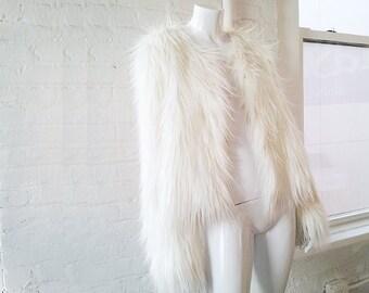 White Faux Fur Jacket 90s Vintage Monkey Fur Club Kid Boho Chic Hippie Glam Rock Burningman Festival Vegan Fake Fur Bridal Playa Coat Jacket