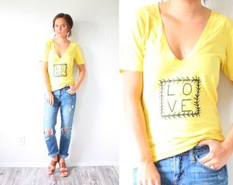 Vintage bright yellow graphic T print shirt // boho LOVE hand painted shirt // floral print // bold XS small shirt // southwestern shirt