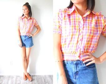 Vintage plaid short sleeve shirt // orange pink purple plaid blouse // SMALL XS // Plaid print t-shirt thin / cowgirl crop top cropped shirt