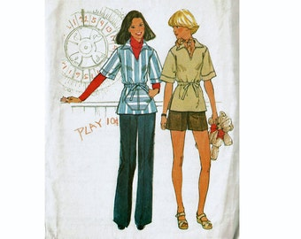 Simplicity 8077 Pull over tunic top and pants and Shorts 1970s UNCUT vintage sewing pattern Size 12 Bust 34 Cute Boho Contemporary Fashion
