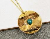 Turquoise Stone Disc Necklace, Gemstone Boho Necklace, Gold Necklace