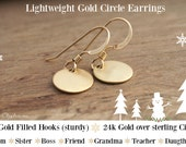 LIGHTWEIGHT GOLD CIRCLE Earrings, Tiny Gold Earrings, Gifts for Mom from Daughter, Gift for Daughter on Wedding Day,