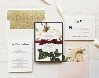 "Floral Boho Wedding Invitations, Handwritten Fonts, Glitter Gold Envelope Liner, Navy, Blush, Burgundy Ribbon - ""Navy Garden Rose"" Sample"