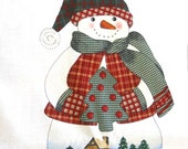 Winter Scenic Snowman - Sewing Fabric Panel