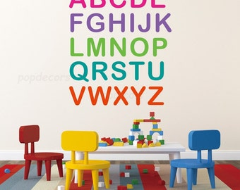 Kids Wall Decal, Playroom Wall Decal, Nursery Wall Decal, Baby Wall Decal - Nursery ABC -Playroom Kids Children Love  pt0283