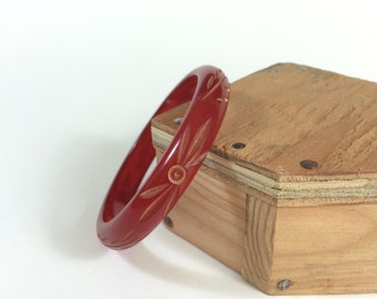 Vintage Cherry Bakelite Carved Floral Bangle