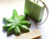 Soap Duo - Dope on a Rope Hemp Soap on a Rope  - Choose Your Scent/Strain - Receive One Leaf and One Block - St. Paddys - Hemp Oil