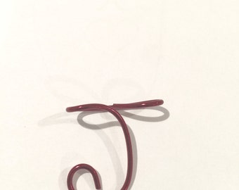 Letter J, capital J, Etsy jewelry, Lilyb444, Red wire  Christmas ornament, Personalized jewelry