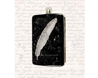 Ravens Feather Hip Flask with Cigarette Case Wallet Inlaid in Hand Painted Black Enamel Neo Victorian Quill Personalized and Custom Colos